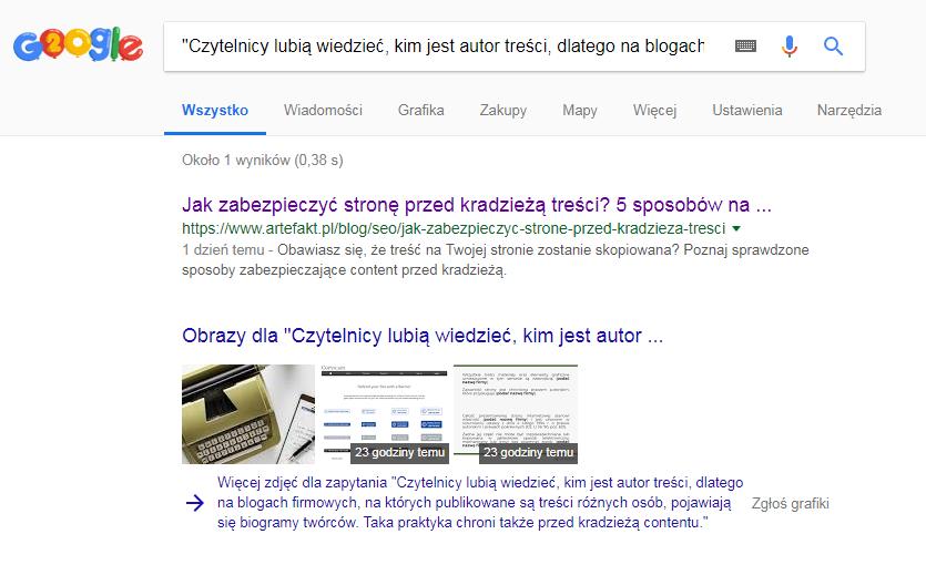 wyniki wyszukiwanie Google