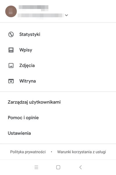 konfiguracja wiadomości Google Moja Firma