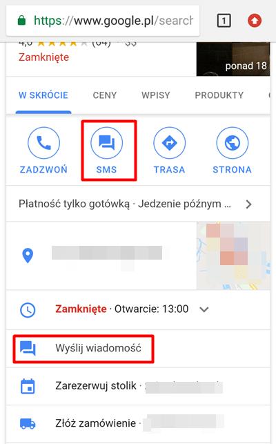 SMS w Google Moja Firma